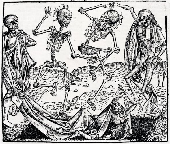 Image de la Mort. Gravure sur bois de Michael Wolgemut, dans La Chronique de Nuremberg (1493)